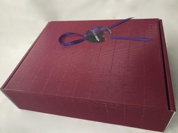 Geschenkkarton bordeaux 3er incl. Sizzle und Schleife