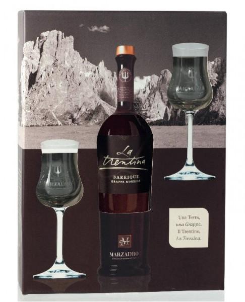 Marzadro La Trentina Morbida Grappa 0,5l in Geschenkpackung inkl. 2 Gläser