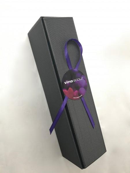 Geschenkkarton 1er anthrazit mit Sizzle und Schleife